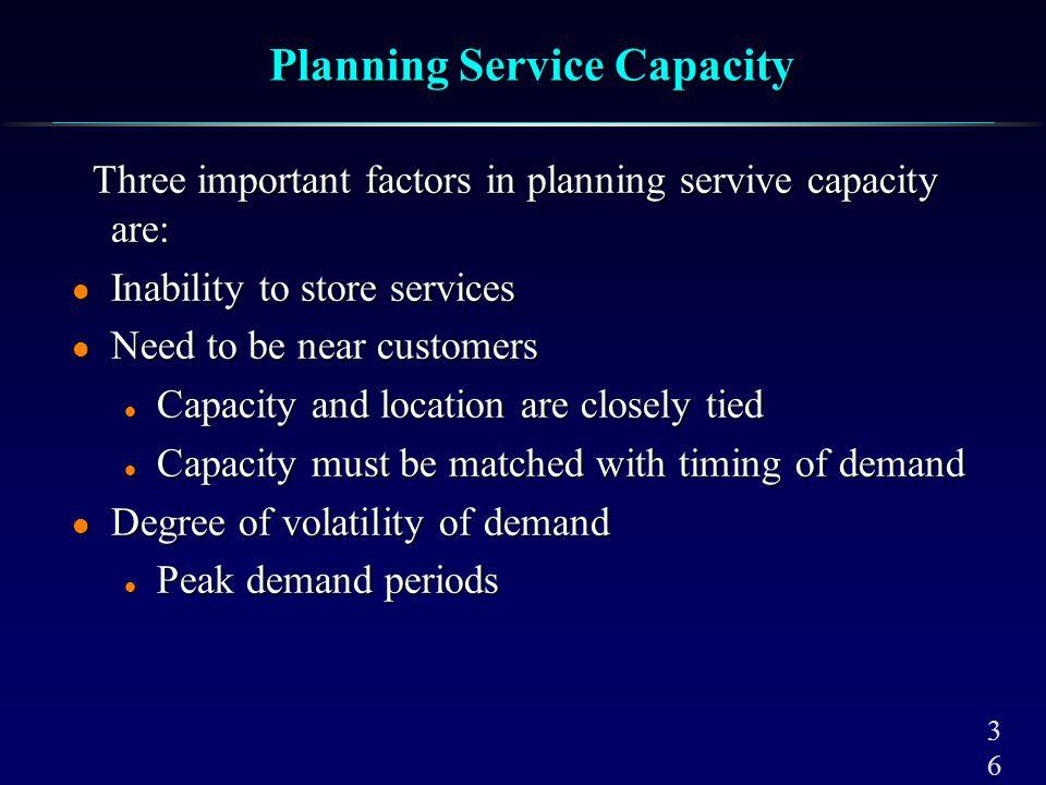 3636 Planning Service Capacity Three important factors in planning servive capacity are: Three important factors in planning servive capacity are: l I