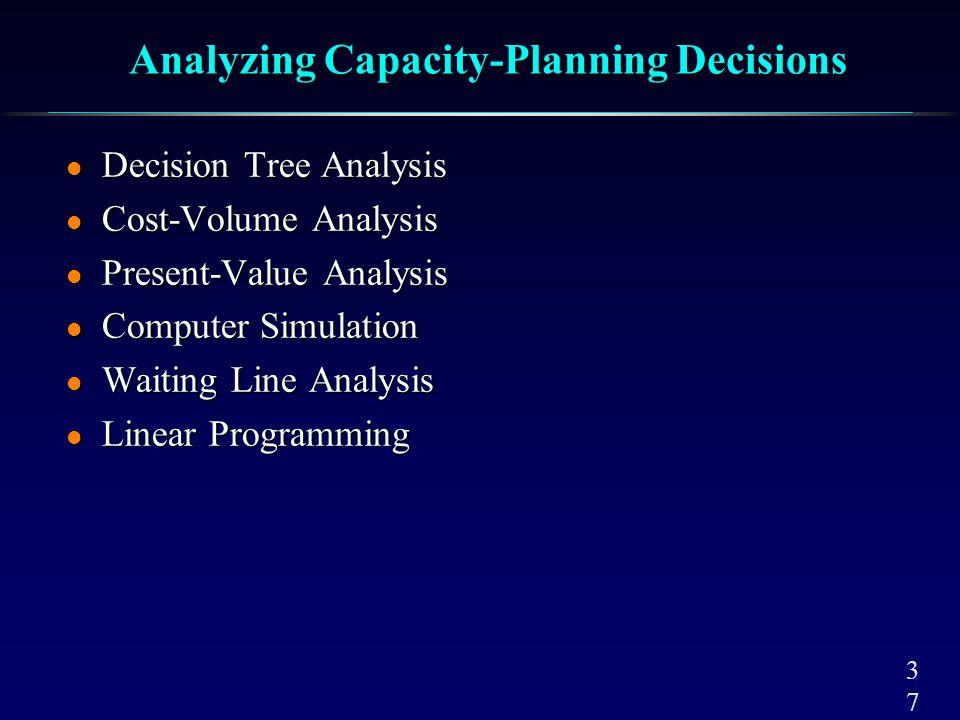 3737 Analyzing Capacity-Planning Decisions l Decision Tree Analysis l Cost-Volume Analysis l Present-Value Analysis l Computer Simulation l Waiting Li