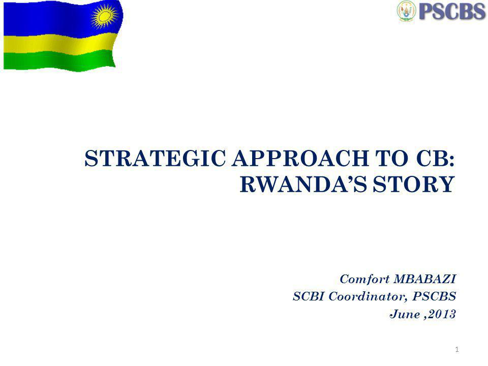 STRATEGIC APPROACH TO CB: RWANDAS STORY Comfort MBABAZI SCBI Coordinator, PSCBS June,2013 1