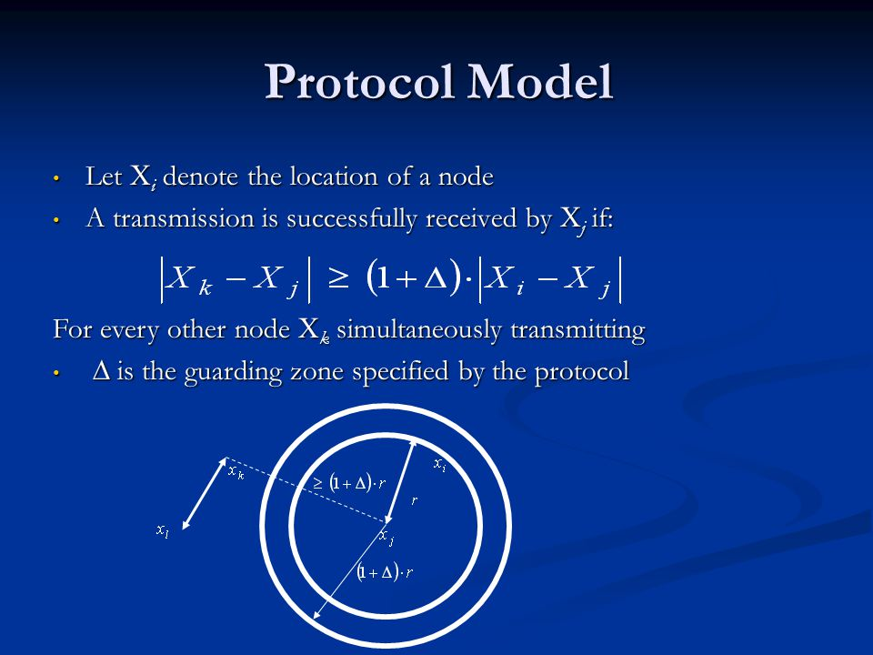 Protocol Model Let X i denote the location of a node Let X i denote the location of a node A transmission is successfully received by X j if: A transm