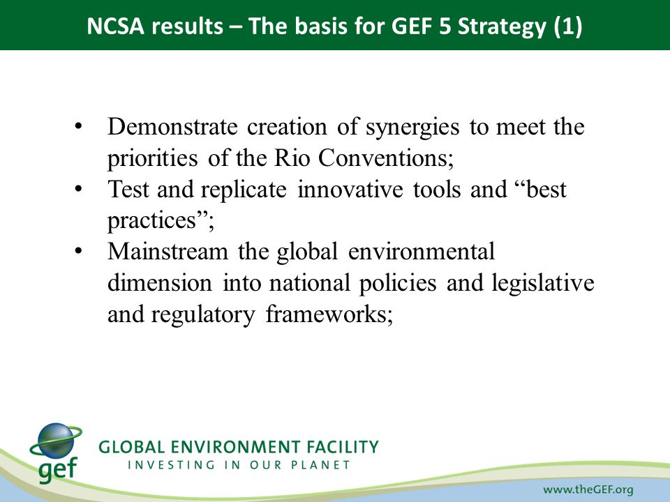 Demonstrate creation of synergies to meet the priorities of the Rio Conventions; Test and replicate innovative tools and best practices; Mainstream th
