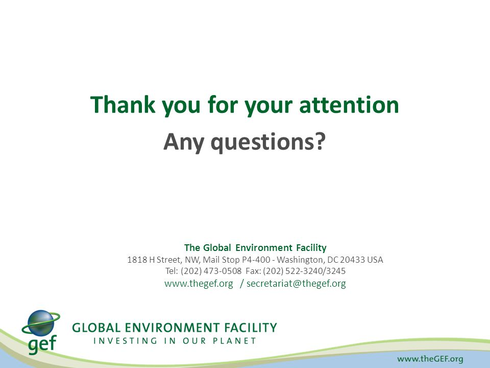 Thank you for your attention Any questions? The Global Environment Facility 1818 H Street, NW, Mail Stop P4-400 - Washington, DC 20433 USA Tel: (202)