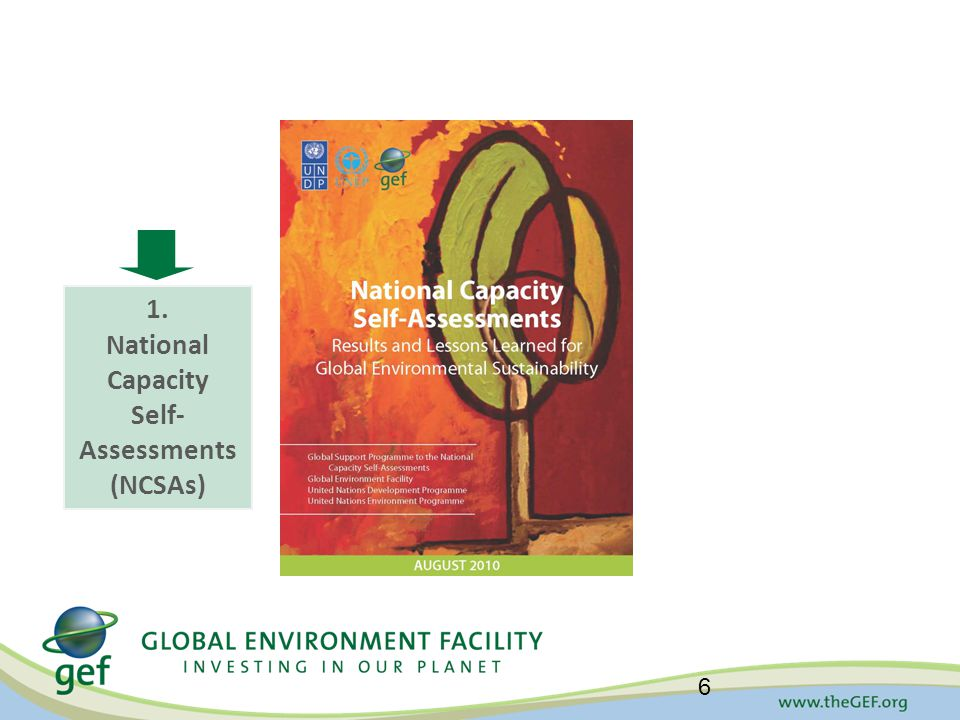 National Capacity Self-Assessments: Results, Lessons Learned, Opportunities 6 1. National Capacity Self- Assessments (NCSAs)