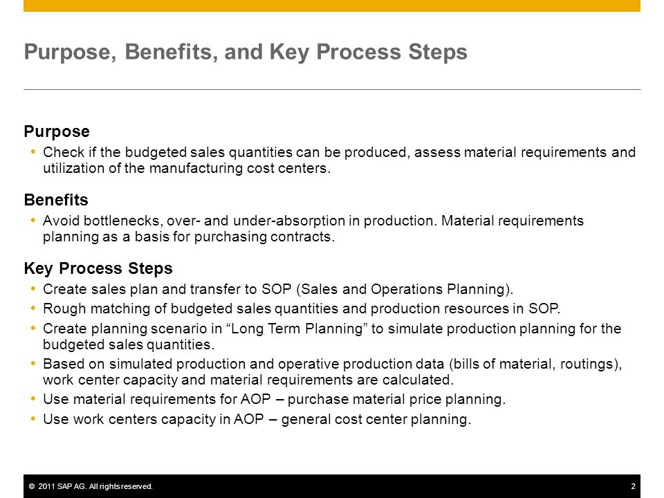 ©2011 SAP AG. All rights reserved.2 Purpose, Benefits, and Key Process Steps Purpose Check if the budgeted sales quantities can be produced, assess ma