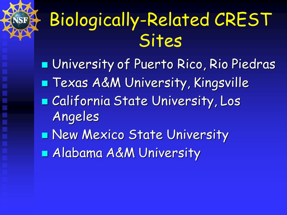 Biologically-Related CREST Sites University of Puerto Rico, Rio Piedras University of Puerto Rico, Rio Piedras Texas A&M University, Kingsville Texas A&M University, Kingsville California State University, Los Angeles California State University, Los Angeles New Mexico State University New Mexico State University Alabama A&M University Alabama A&M University