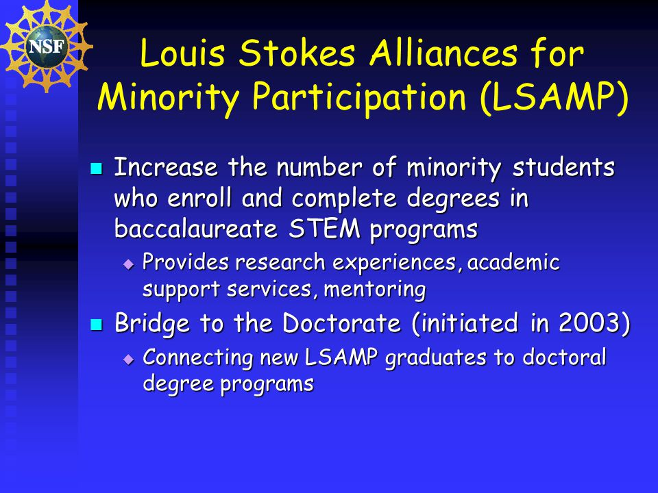 Louis Stokes Alliances for Minority Participation (LSAMP) Increase the number of minority students who enroll and complete degrees in baccalaureate STEM programs Increase the number of minority students who enroll and complete degrees in baccalaureate STEM programs Provides research experiences, academic support services, mentoring Provides research experiences, academic support services, mentoring Bridge to the Doctorate (initiated in 2003) Bridge to the Doctorate (initiated in 2003) Connecting new LSAMP graduates to doctoral degree programs Connecting new LSAMP graduates to doctoral degree programs