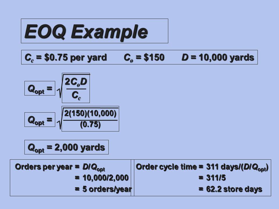 EOQ Example C c = $0.75 per yardC o = $150D = 10,000 yards Q opt = 2CoD2CoDCcCc2CoD2CoDCcCc 2(150)(10,000)(0.75) Q opt = 2,000 yards Orders per year =