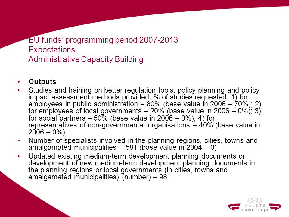 EU funds programming period 2007-2013 Expectations Administrative Capacity Building Outputs Studies and training on better regulation tools, policy pl