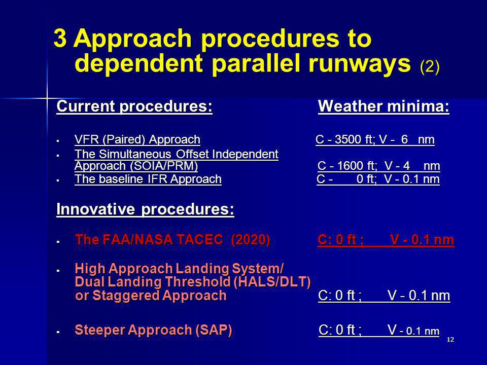 12 Current procedures: Weather minima: VFR (Paired) Approach C - 3500 ft; V - 6 nm VFR (Paired) Approach C - 3500 ft; V - 6 nm The Simultaneous Offset