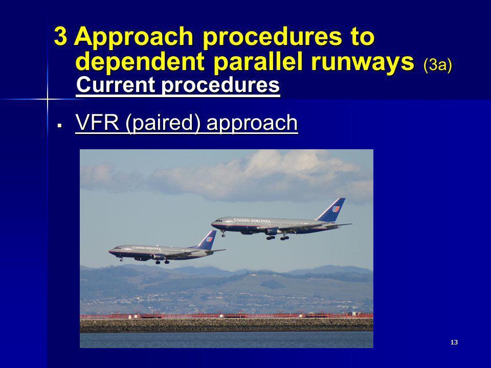 13 VFR (paired) approach VFR (paired) approach 3 Approach procedures to dependent parallel runways (3a) Current procedures