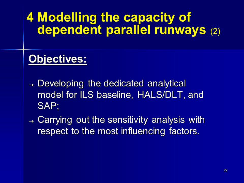 22 Objectives: Developing the dedicated analytical model for ILS baseline, HALS/DLT, and SAP; Developing the dedicated analytical model for ILS baseli