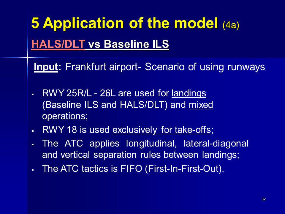 32 Input: Frankfurt airport- Scenario of using runways RWY 25R/L - 26L are used for landings (Baseline ILS and HALS/DLT) and mixed operations; RWY 18