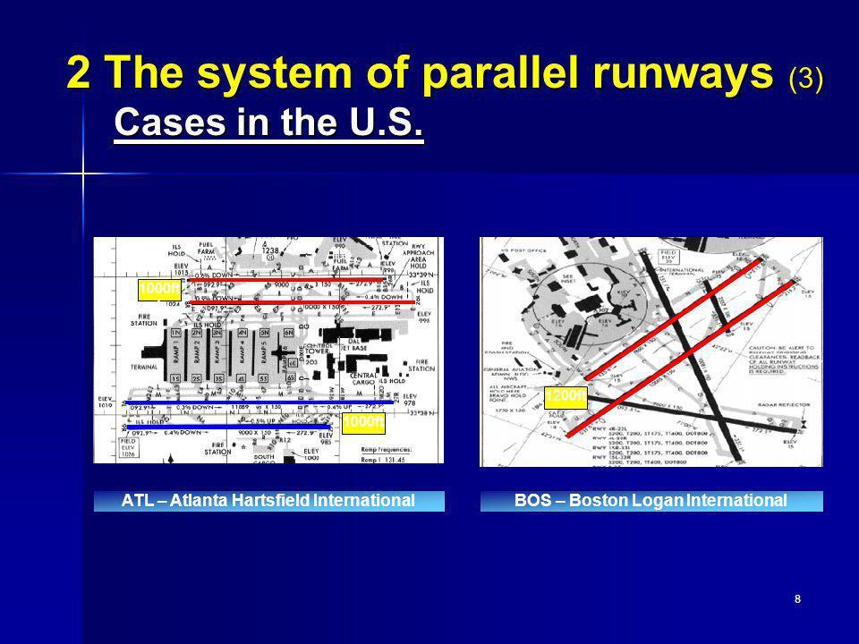 8 BOS – Boston Logan International 1200ft 2 The system of parallel runways (3) Cases in the U.S. 1000ft 1000ft t ATL – Atlanta Hartsfield Internationa