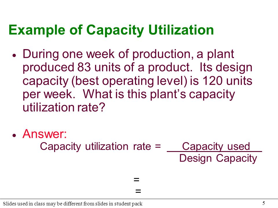 5 Slides used in class may be different from slides in student pack Example of Capacity Utilization During one week of production, a plant produced 83