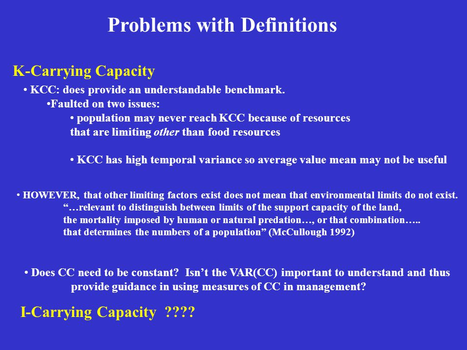 Problems with Definitions KCC: does provide an understandable benchmark.