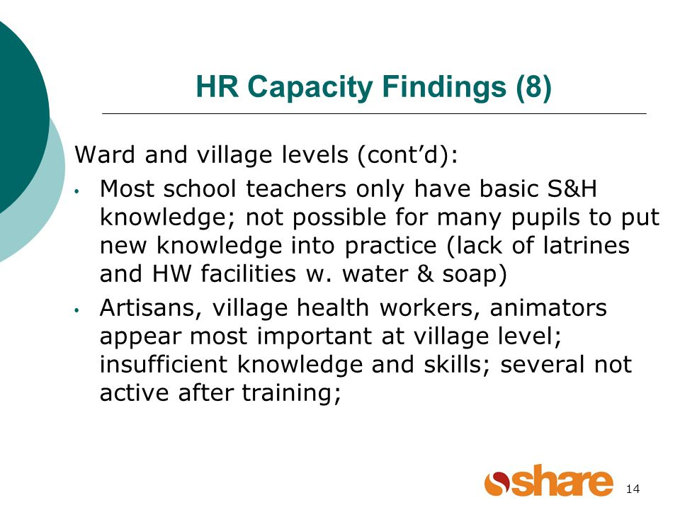 14 HR Capacity Findings (8) Ward and village levels (contd): Most school teachers only have basic S&H knowledge; not possible for many pupils to put new knowledge into practice (lack of latrines and HW facilities w.
