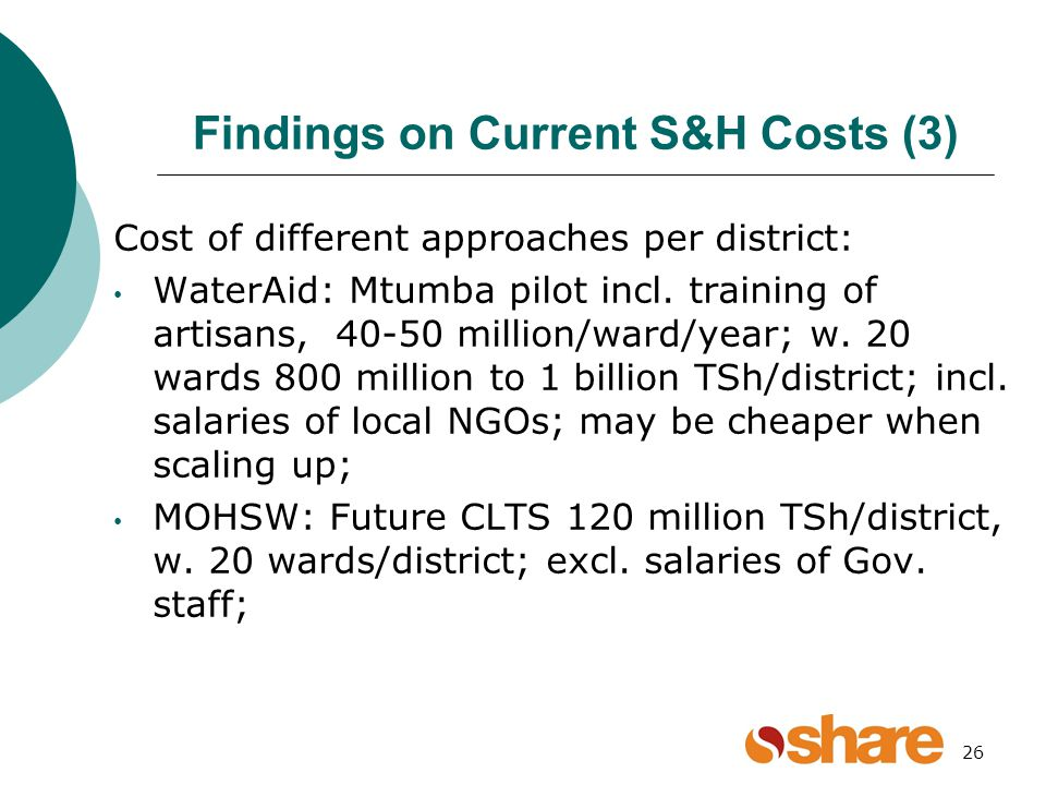 26 Findings on Current S&H Costs (3) Cost of different approaches per district: WaterAid: Mtumba pilot incl.