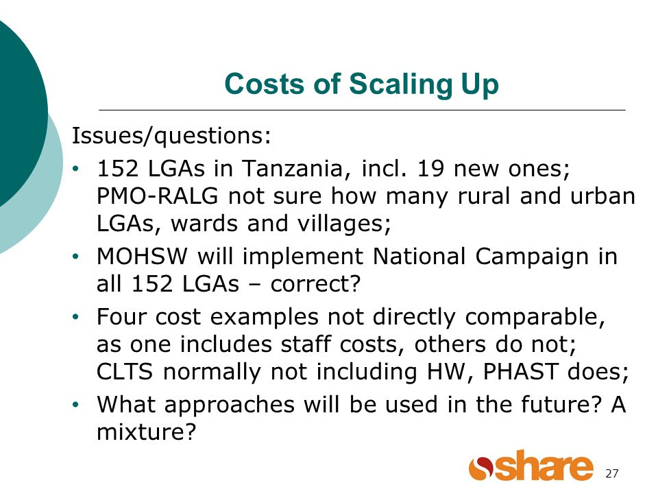 27 Costs of Scaling Up Issues/questions: 152 LGAs in Tanzania, incl.