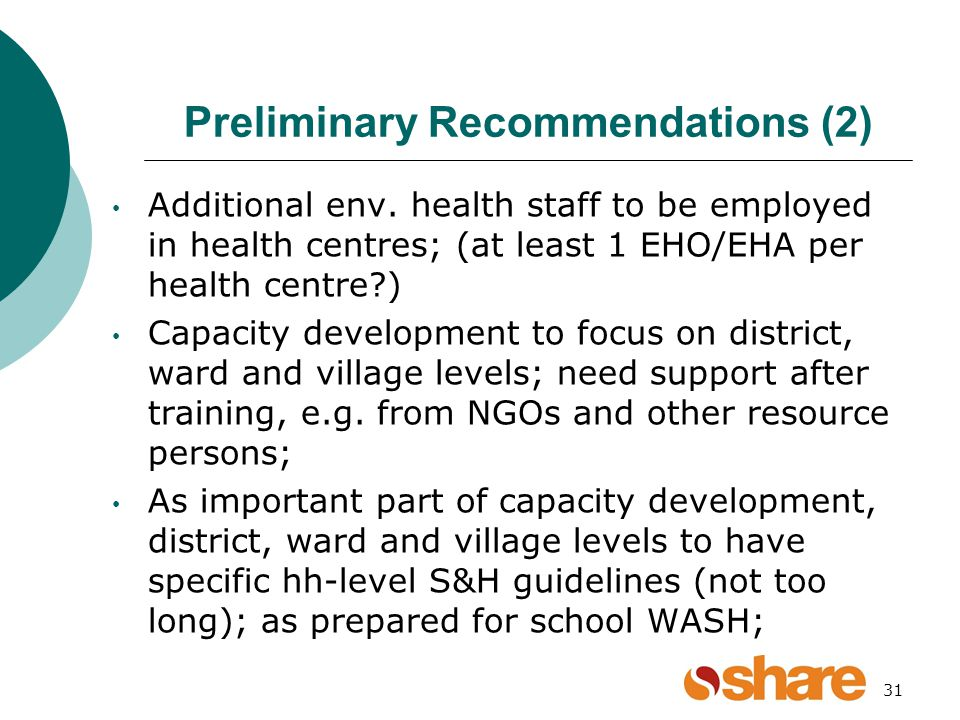 Preliminary Recommendations (2) Additional env.