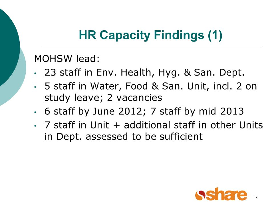 7 HR Capacity Findings (1) MOHSW lead: 23 staff in Env.