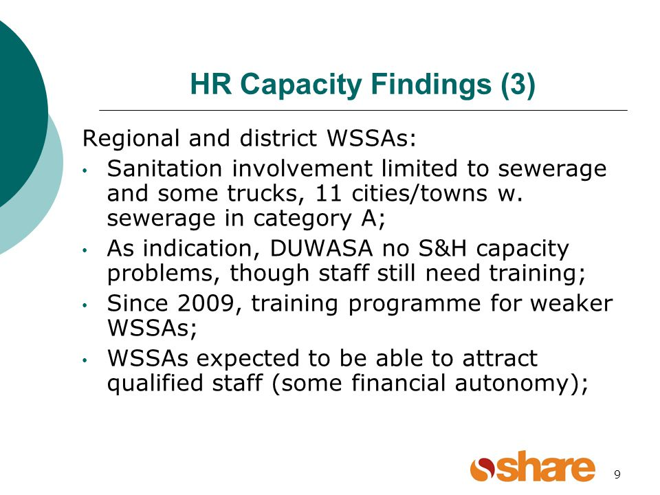9 HR Capacity Findings (3) Regional and district WSSAs: Sanitation involvement limited to sewerage and some trucks, 11 cities/towns w.