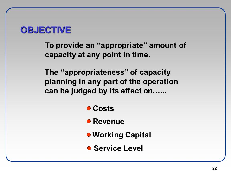 22 OBJECTIVE To provide an appropriate amount of capacity at any point in time. The appropriateness of capacity planning in any part of the operation