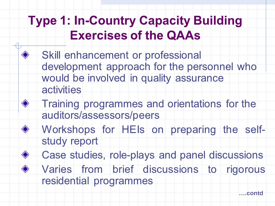 Type 1: In-Country Capacity Building Exercises of the QAAs Skill enhancement or professional development approach for the personnel who would be involved in quality assurance activities Training programmes and orientations for the auditors/assessors/peers Workshops for HEIs on preparing the self- study report Case studies, role-plays and panel discussions Varies from brief discussions to rigorous residential programmes ….contd