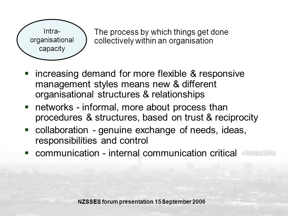 NZSSES forum presentation 15 September 2006 Intra- organisational capacity The process by which things get done collectively within an organisation in