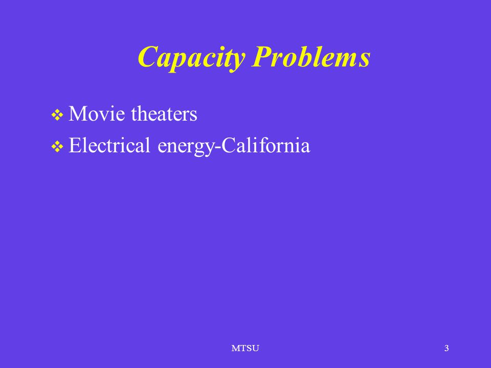 MTSU3 Capacity Problems Movie theaters Electrical energy-California