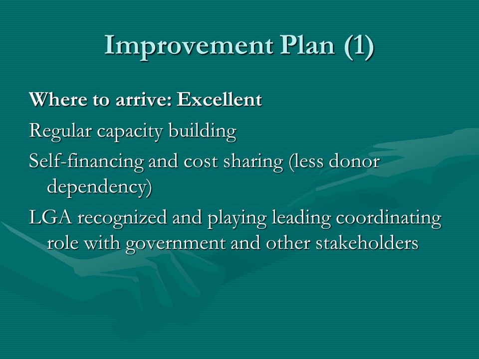 Improvement Plan (2) Self-financing and cost-sharing Revise legal framework for fiscal decentralization (own revenues and central government allocation; own budget distribution) so that village and township municipalities can pay a membership fee and pay for capacity buildingRevise legal framework for fiscal decentralization (own revenues and central government allocation; own budget distribution) so that village and township municipalities can pay a membership fee and pay for capacity building Central Government to establish a capacity building fund (association member of fund board)Central Government to establish a capacity building fund (association member of fund board)