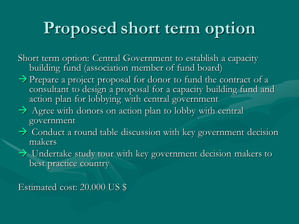 Proposed short term option Short term option: Central Government to establish a capacity building fund (association member of fund board) Prepare a project proposal for donor to fund the contract of a consultant to design a proposal for a capacity building fund and action plan for lobbying with central government Prepare a project proposal for donor to fund the contract of a consultant to design a proposal for a capacity building fund and action plan for lobbying with central government Agree with donors on action plan to lobby with central government Agree with donors on action plan to lobby with central government Conduct a round table discussion with key government decision makers Conduct a round table discussion with key government decision makers Undertake study tour with key government decision makers to best practice country Undertake study tour with key government decision makers to best practice country Estimated cost: 20.000 US $