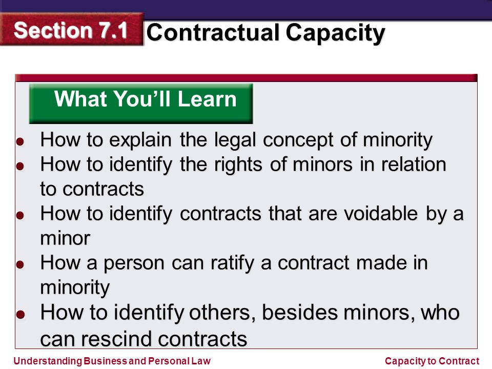 Understanding Business and Personal Law Contractual Capacity Section 7.1 Capacity to Contract If a minor claims to be over the age of majority, then he or she has committed fraud.