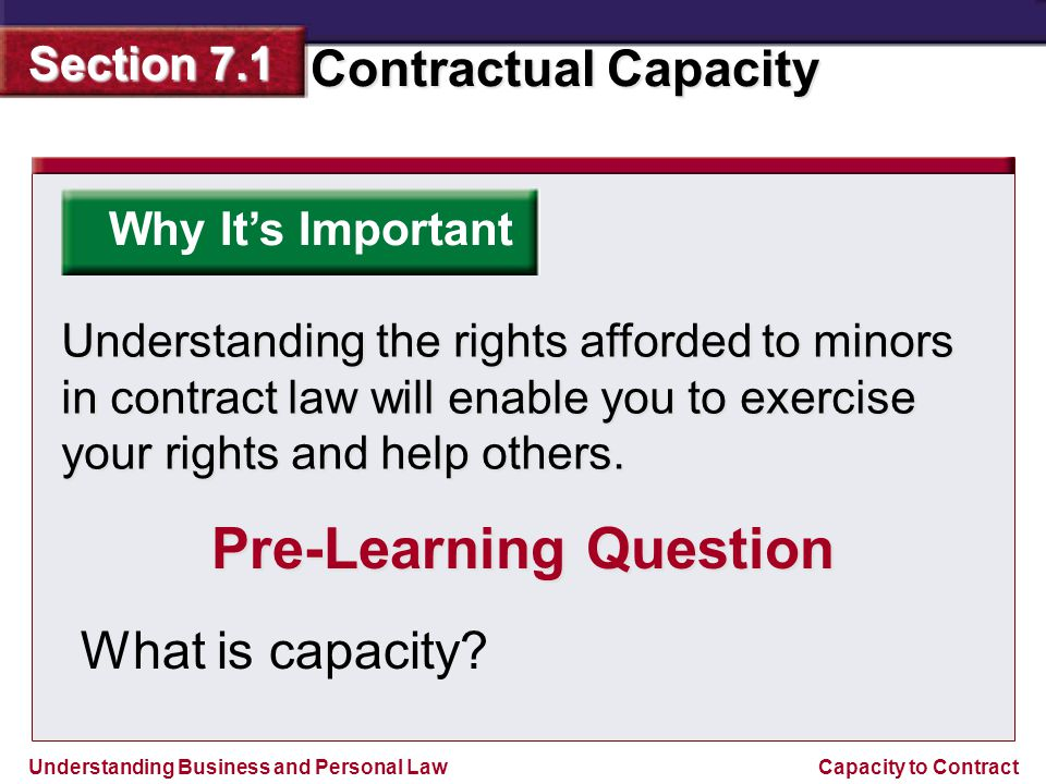 Understanding Business and Personal Law Contractual Capacity Section 7.1 Capacity to Contract Reviewing What You Learned Upon reaching majority, a person can ratify a contract by approving of the contract orally, in writing, or by some action.