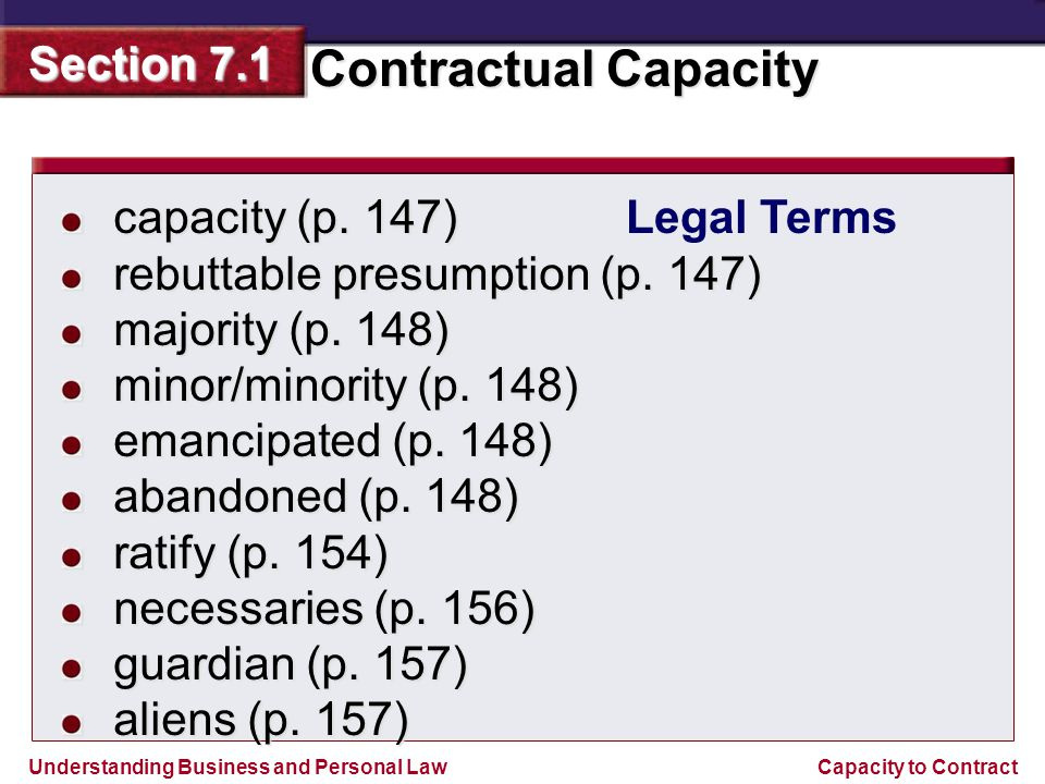 Understanding Business and Personal Law Contractual Capacity Section 7.1 Capacity to Contract The Requirement of Capacity Section Outline Minors Rights and Obligations Definition of Minority Misrepresentation of Age Contracts of Minors Voidable Contracts Ratification of Minors Contracts Contracts for Necessaries Special Statutory Rules Other Contractual Capacity Rules Mentally Impaired Persons Intoxicated Persons Other Capacity Limitations