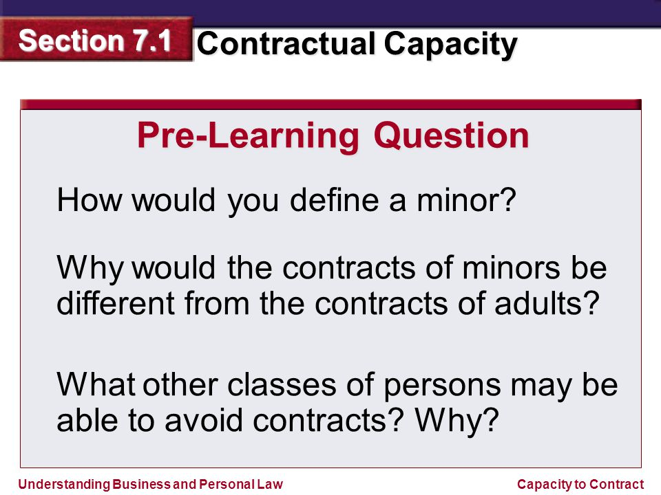 Understanding Business and Personal Law Contractual Capacity Section 7.1 Capacity to Contract Ratification of Minors Contracts After reaching the age of majority, a person can ratify, or approve, contracts made during minority.