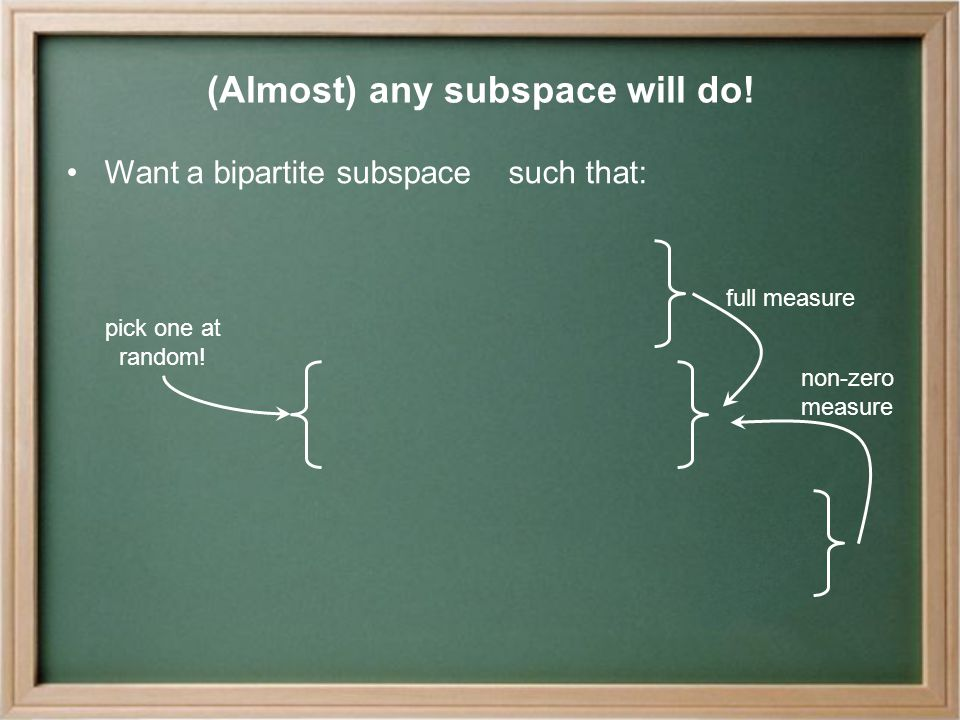 (Almost) any subspace will do.