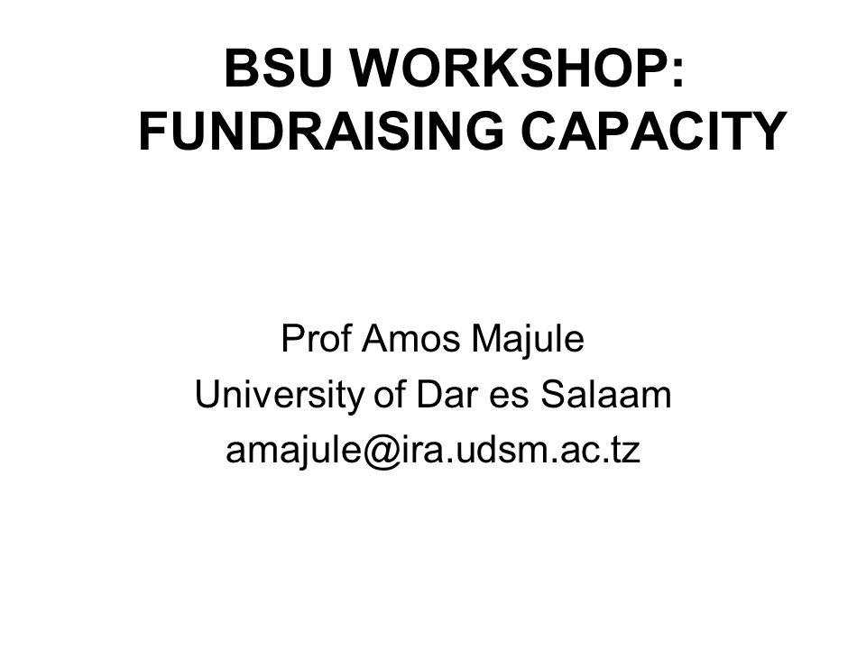 BSU WORKSHOP: FUNDRAISING CAPACITY Prof Amos Majule University of Dar es Salaam amajule@ira.udsm.ac.tz