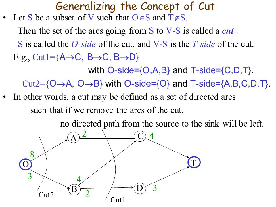 Generalizing the Concept of Cut Let S be a subset of V such that O S and T S.