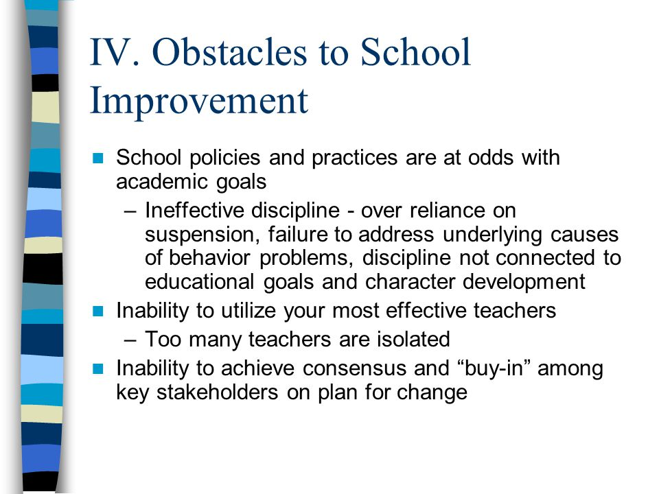 IV. Obstacles to School Improvement School policies and practices are at odds with academic goals –Ineffective discipline - over reliance on suspensio