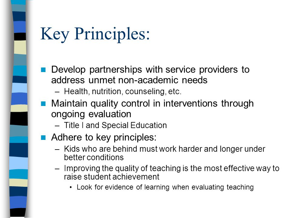 Key Principles: Develop partnerships with service providers to address unmet non-academic needs –Health, nutrition, counseling, etc. Maintain quality