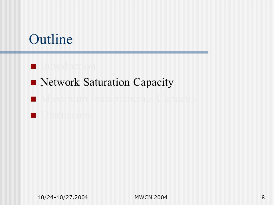 10/24-10/27.2004MWCN 20049 Previous Work Novel concepts --- deferral set and equivalent competitor are proposed to facilitate multi-hop capacity analysis.