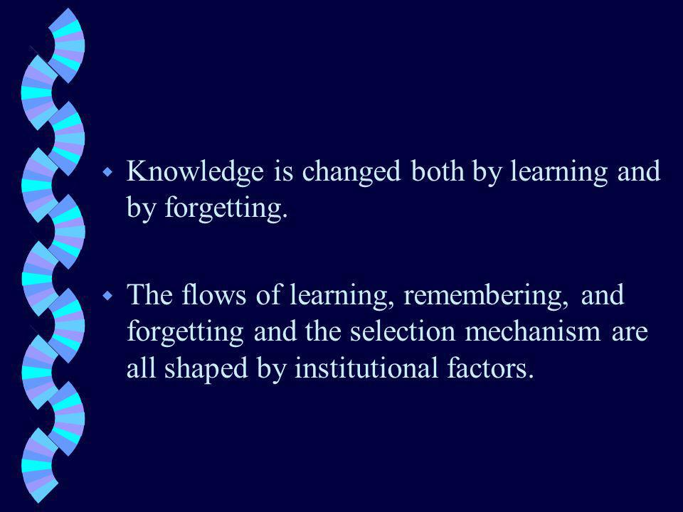 w Knowledge is changed both by learning and by forgetting.