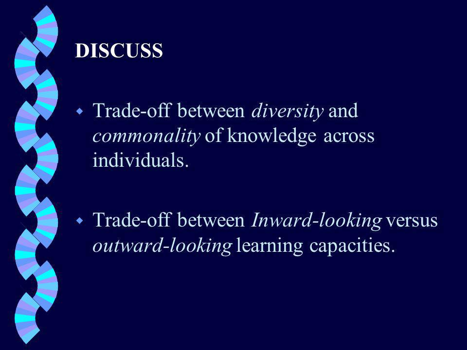 DISCUSS w Trade-off between diversity and commonality of knowledge across individuals.