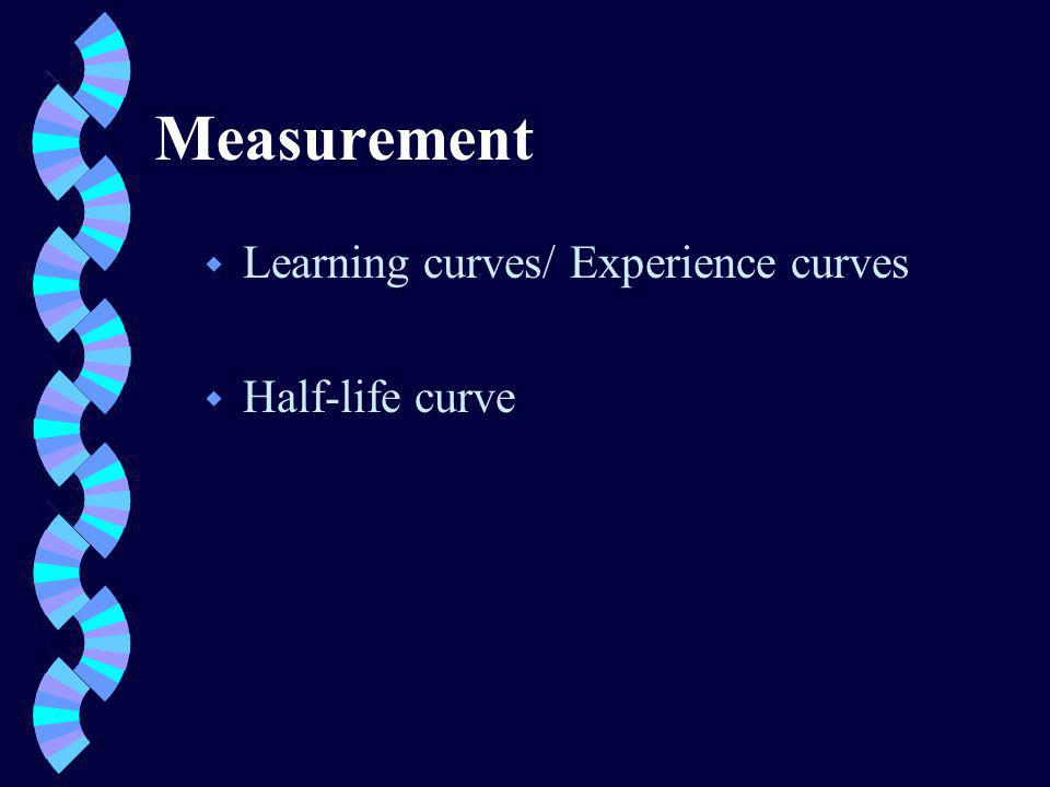 Measurement w Learning curves/ Experience curves w Half-life curve