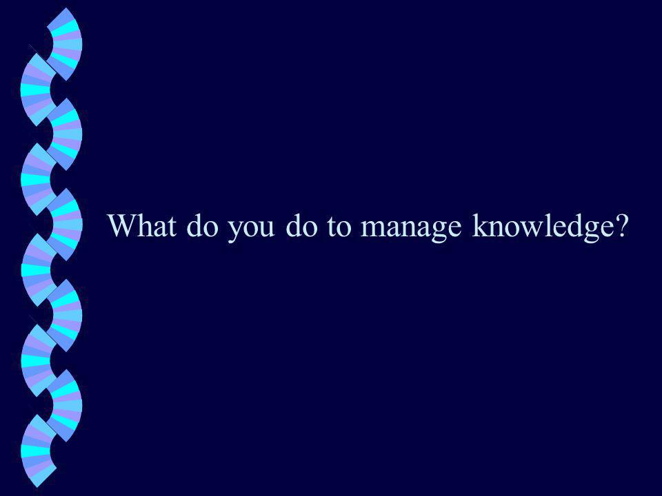 What do you do to manage knowledge
