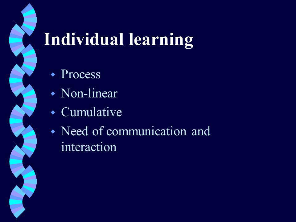 From individual to organizational learning - some definitions w Learning institution/organization/ knowledge-creating company is an organization skilled at creating, acquiring, and transferring knowledge, and at modifying its behaviour to reflect new knowledge and insights.