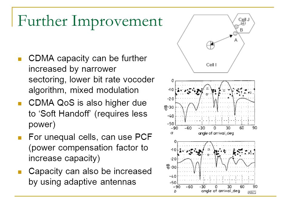 Further Improvement CDMA capacity can be further increased by narrower sectoring, lower bit rate vocoder algorithm, mixed modulation CDMA QoS is also higher due to Soft Handoff (requires less power) For unequal cells, can use PCF (power compensation factor to increase capacity) Capacity can also be increased by using adaptive antennas
