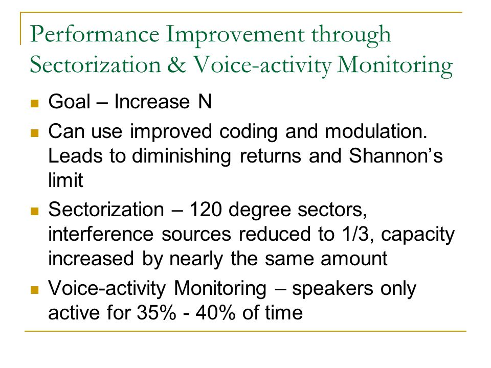 Performance Improvement through Sectorization & Voice-activity Monitoring Goal – Increase N Can use improved coding and modulation.