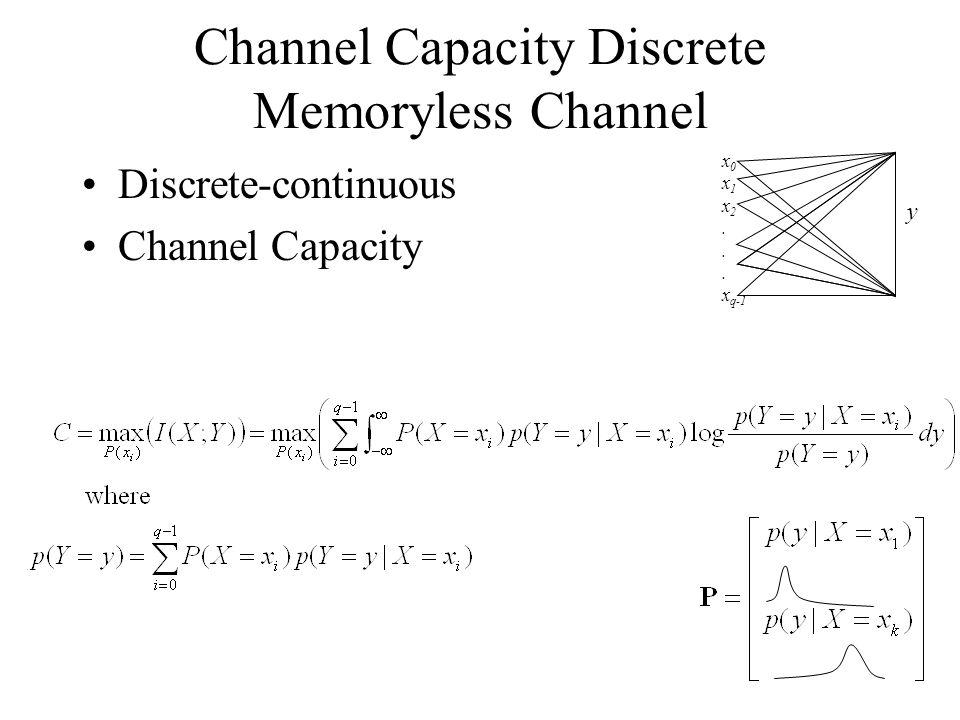 Channel Capacity Discrete Memoryless Channel Discrete-continuous Channel Capacity x 0 x 1 x 2. x q-1 y
