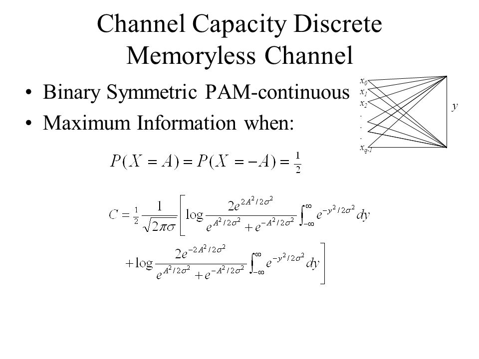 Channel Capacity Discrete Memoryless Channel Binary Symmetric PAM-continuous Maximum Information when: x 0 x 1 x 2.